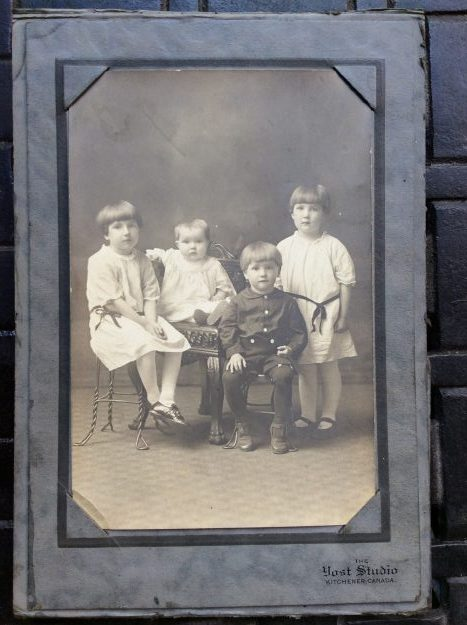 Harold Dettweiler, first-born son with (oldest to youngest) Margaret, Mary and Ruby. Year - 1925.