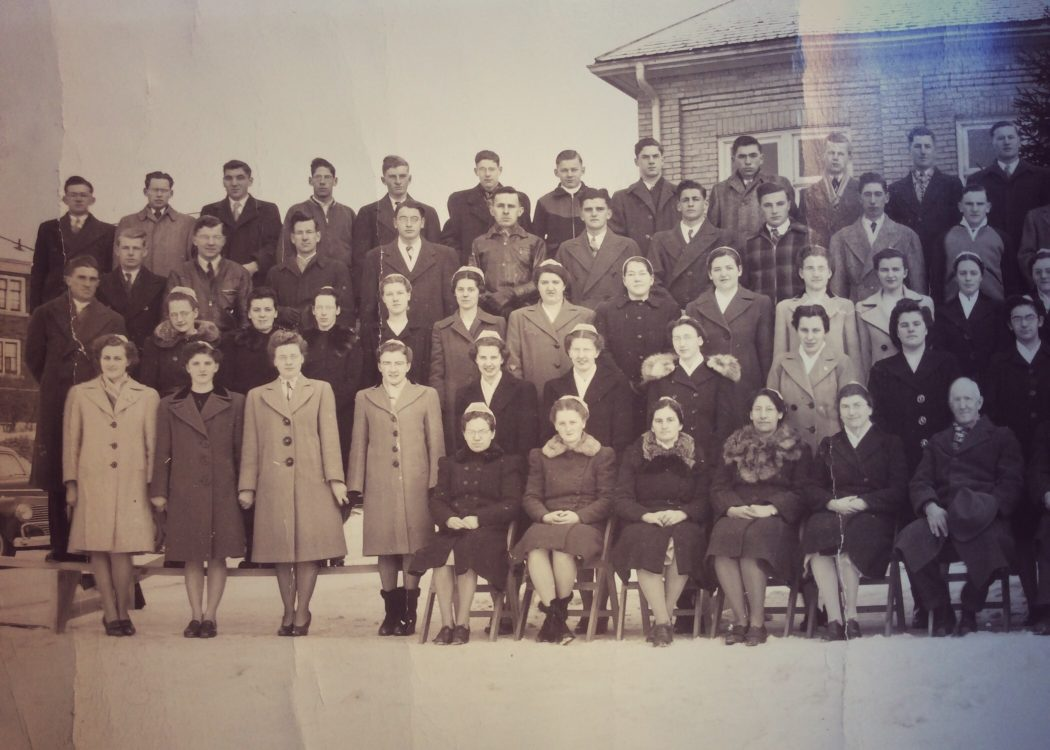 My dad among other Bible School students at Kitchener in January 1948