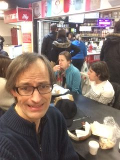 eating in basement of Saint Lawrence market